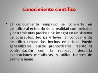 (Explicación de conocimiento científico.)