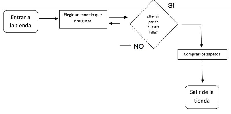 diagrama de flujo - compra de zapatos