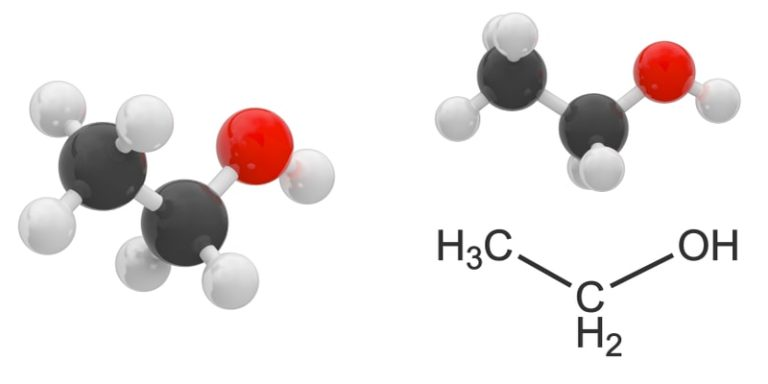 alcoholes molecula etanol