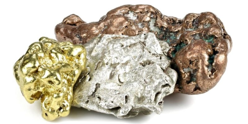 elementos quimicos oro plata cobre