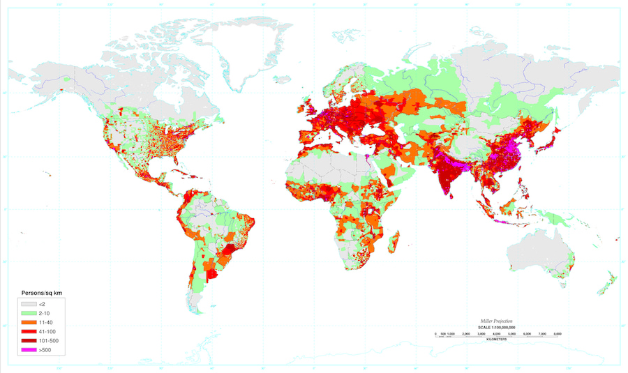 densidad de poblacion mundial