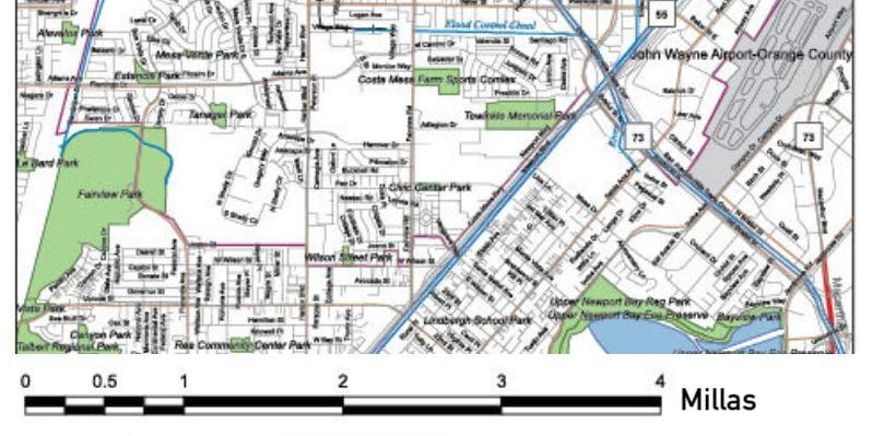 escala grafica ejemplo millas ciudad