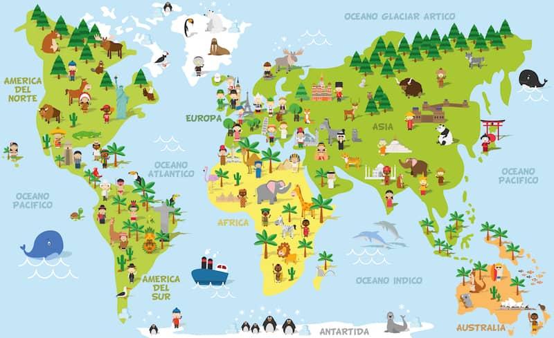 planisferio educativo ecosistemas flora y fauna