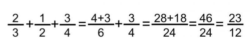 sumar tres fracciones