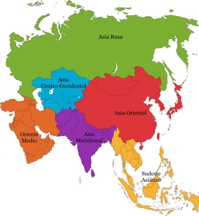 regiones continentales asia