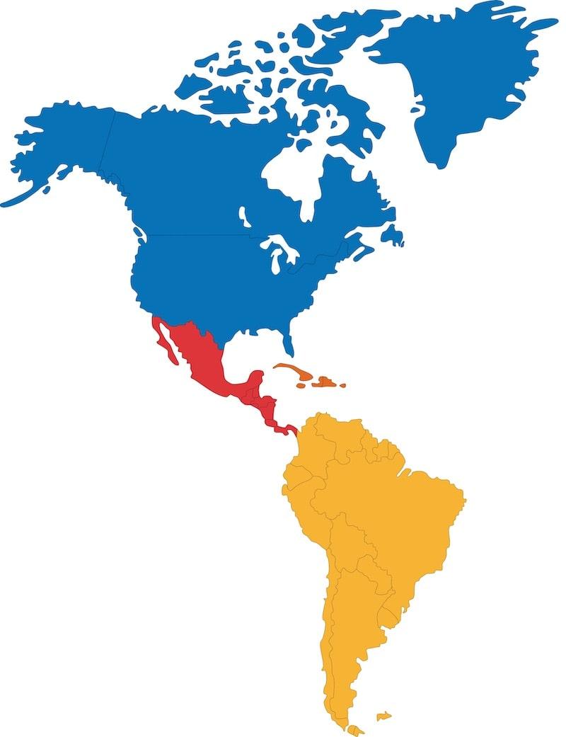 regiones continentales de america